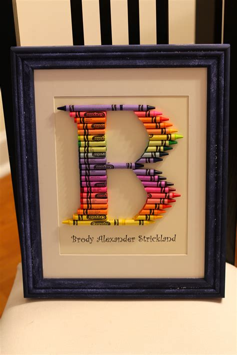b is for brody how to make a crayon monogram frame life