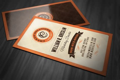 Retro Business Card Business Card Templates On Creative Market Vintage Card Templates