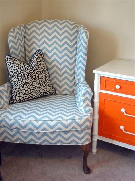 chevron armchair slipcovered chevron wingback orange and white faux bamboo