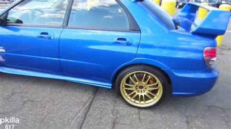blue subaru gold rims subaru impreza wrx sti with the gold rims youtube