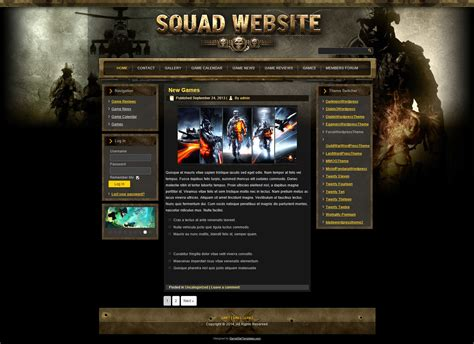 website templates for gaming clans special forces wp theme