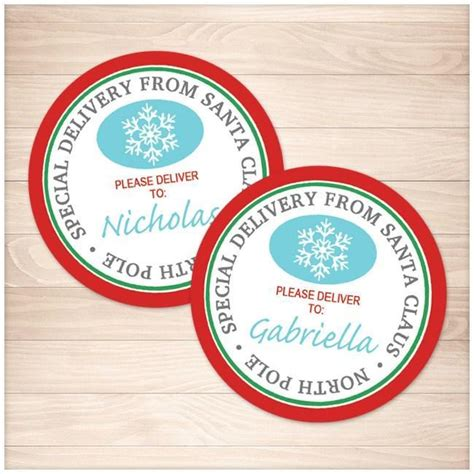 printable round gift tags special delivery from santa claus round personalized