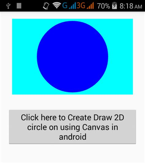 Android Canvas Draw Circle by Create Draw 2d Shape Circle On Using Canvas In