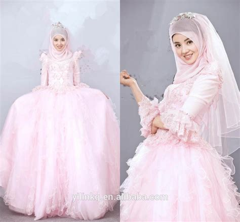 1707026 Pink Gaun Pengantin Wedding Gown Dress pink color sleeve from dubai arabic with china custom made shanghai 2014 picture of