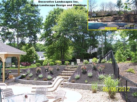landscape designs for backyard slopes feature list for an outdoor living spacedecorative landscapes inc