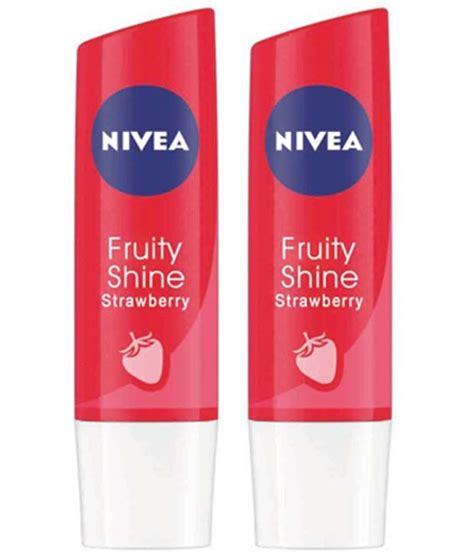Lipice Nivea Fruit Shine Murah nivea fruity shine strawberry lip balms 4 8gm pack of 2 buy nivea fruity shine strawberry lip