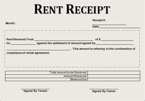 rent receipt template for word sle rent receipt template 20 free documents
