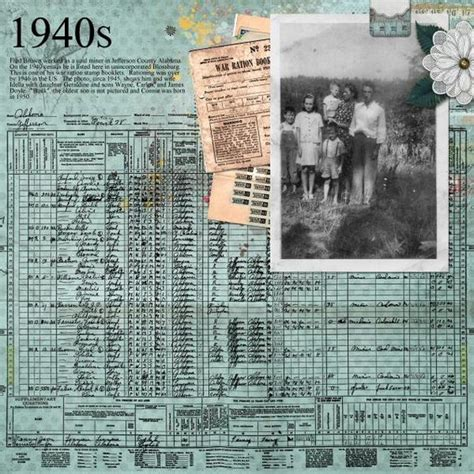 1940s Vintage Paper M 226 - 1940s great use of census page reprint and vintage