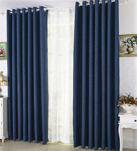 Thick Thermal Curtains Eco Friendly Navy Blue Linen Thick Blackout Insulated Curtains