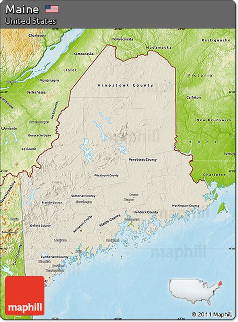 maine physical map free shaded relief map of maine physical outside
