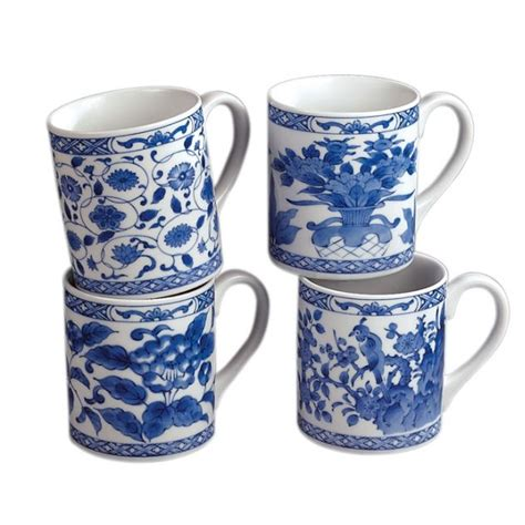 Candabean Collectibles   Andrea Sadek Porcelain Oriental Blue White Coffee Tea Mug 4/Set, $30.00