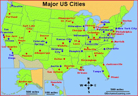 us map with main cities major cities in the usa enchantedlearning com