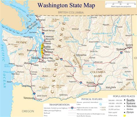 washington state map  large detailed map  washington