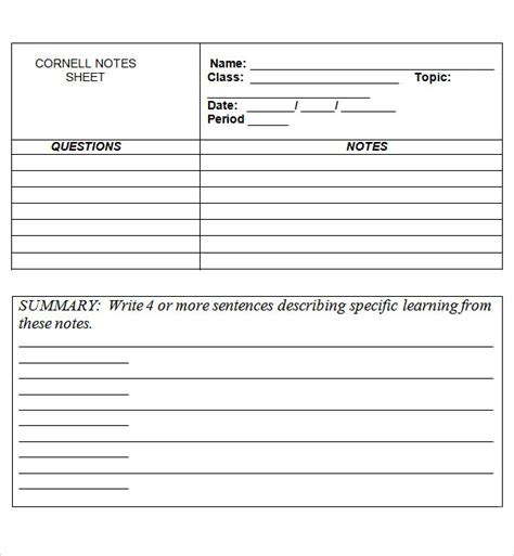 cornell notes template docs cornell note template 15 free documents in pdf