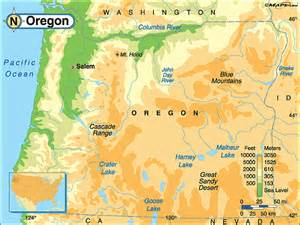 oregon physical map by maps from maps world s