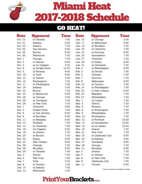 printable heat schedule printable miami heat schedule 2017 2018