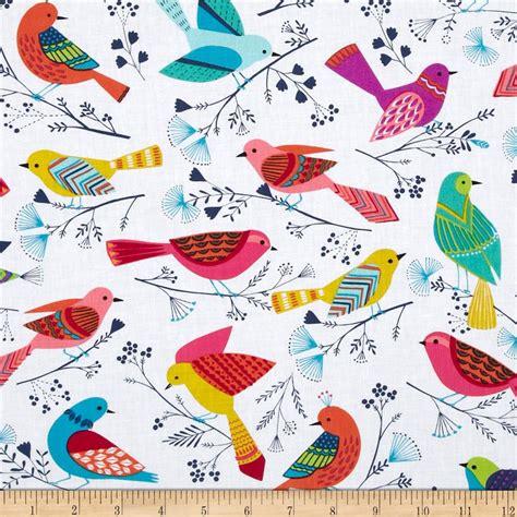 Bird Quilting Fabric by Michael Miller Flock Birds White Discount Designer