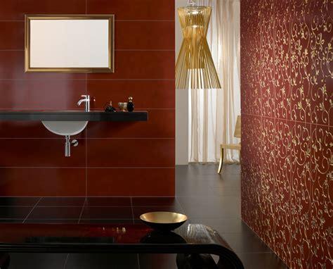 rote fliesen bad florale eleganz und ornamentale dekore