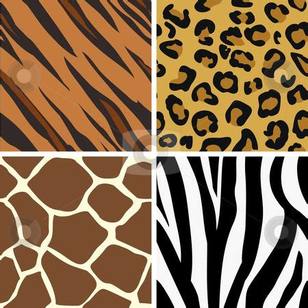 animal print patterns of tiger leopard giraffe and zebra