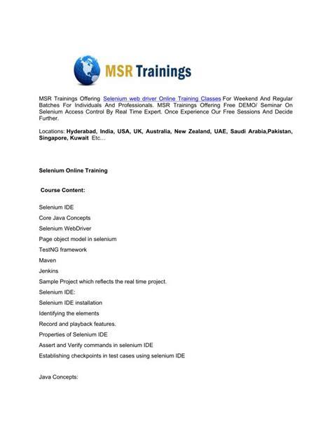 selenium tutorial powerpoint slides ppt selenium online training msr trainings powerpoint