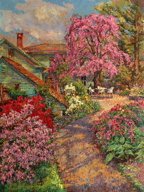 spring paint an original oil painting of a path to the studio with a