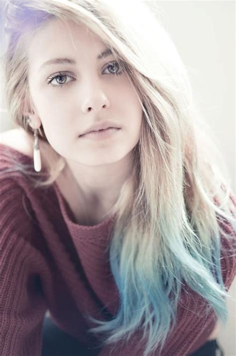 hairstyles with dyed ends light blue dip dye on long hair stylish feminine