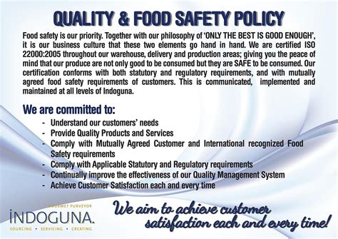 food safety policy template our beliefs indoguna seafood services