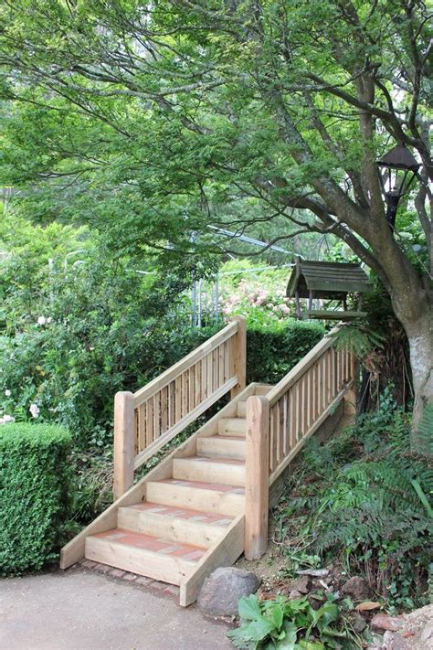 wooden outdoor stairs and landscaping steps on slope garden steps on a slope google search my summer garden