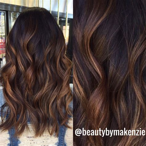 caramel colored highlights balayage with caramel color