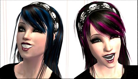 sims 2 male emo hair mod the sims streaked hair with crossbones headband 2