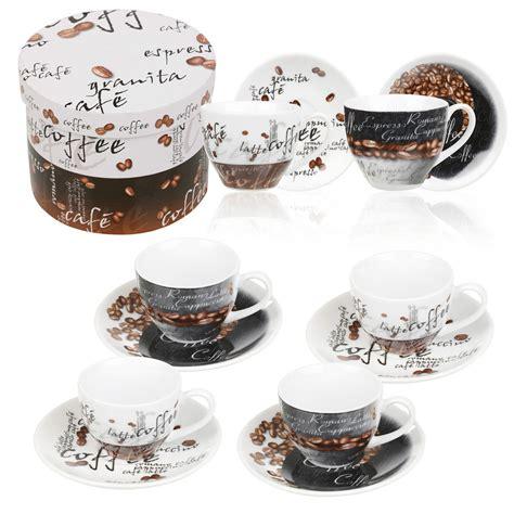 2 4 6 Porcelain Cups & Saucer Espresso Coffee Ceramic Gift
