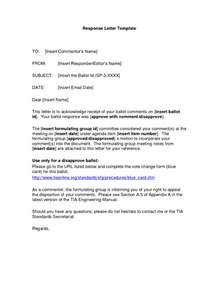 response letter sles writing professional letters
