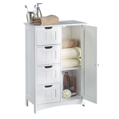 White Multi Use Bathroom Storage Unit 4 Drawer Cabinet Cupboard Shaker Style Ebay Vonhaus Colonial Bathroom White 4chest Drawer Door Cabinet
