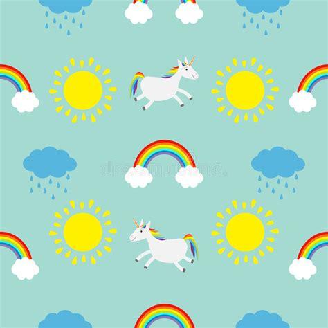 cute baby pattern stock vector image of horse collection cute cartoon sun cloud with rain rainbow unicorn horse