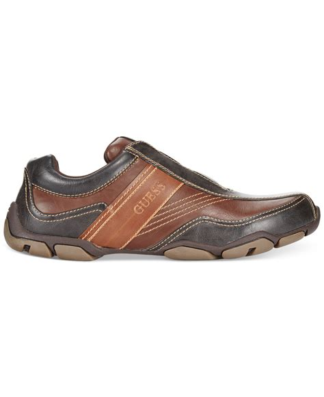 guess sanders casual slip on shoes in brown for lyst