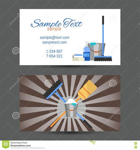 business card template cleaner company straples business card of cleaning service stock vector image