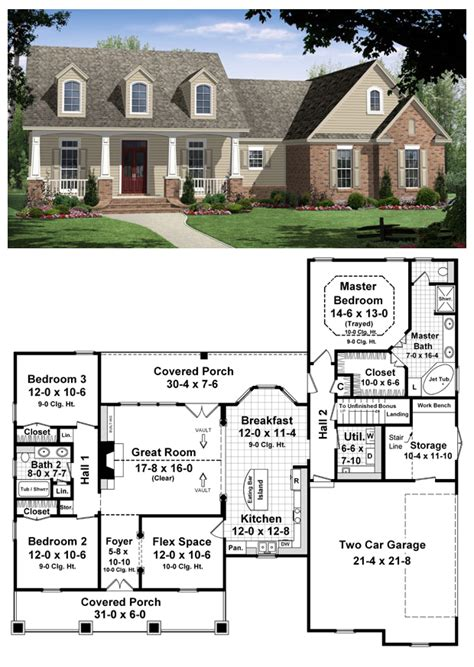 Single Story Cape Cod by House Plan 59104 Total Living Area 1800 Sq Ft 3