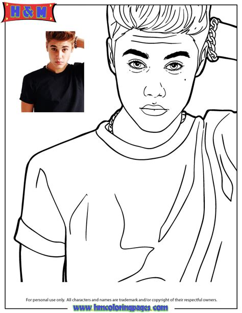 justin bieber free coloring pages