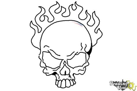 coloring pages fire skulls how to draw a skull on fire drawingnow