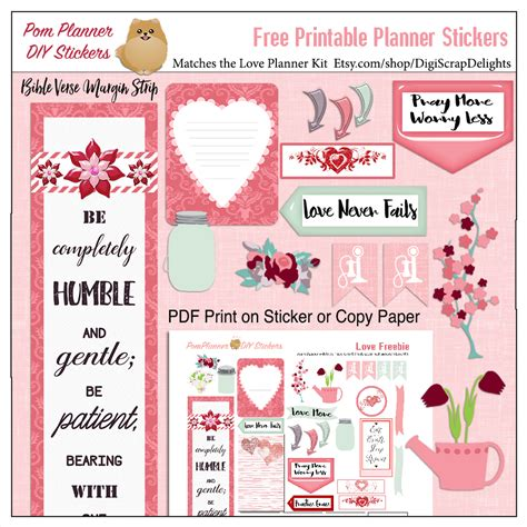 free printable planner kits love kit and free printable planner stickers