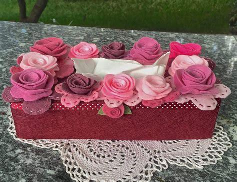 fiori con fazzoletti di carta scatola di feltro porta box per fazzoletti di carta