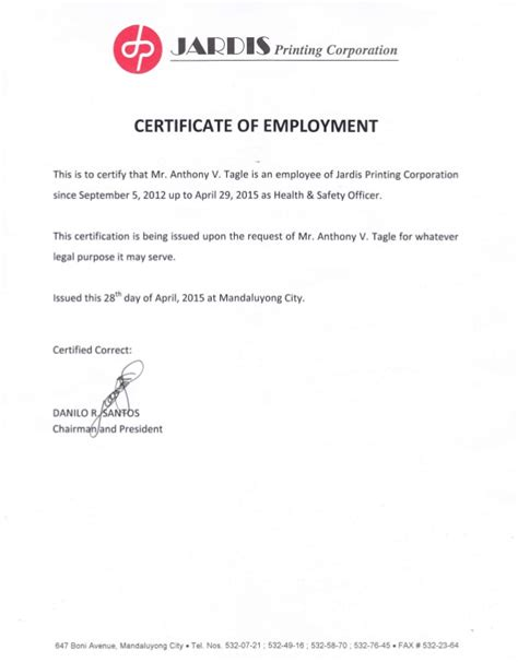 certification letter employment certificate of employment and certificates