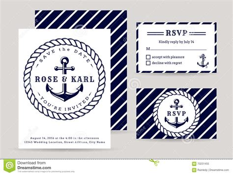 nautical card templates nautical wedding invitations stock vector image 70231455