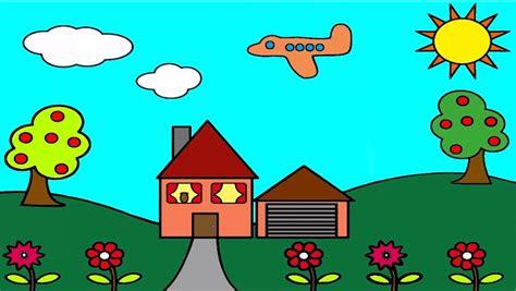 tutorial menggambar untuk anak sd menggambar dan mewarnai rumah untuk anak sd sekolah dasar