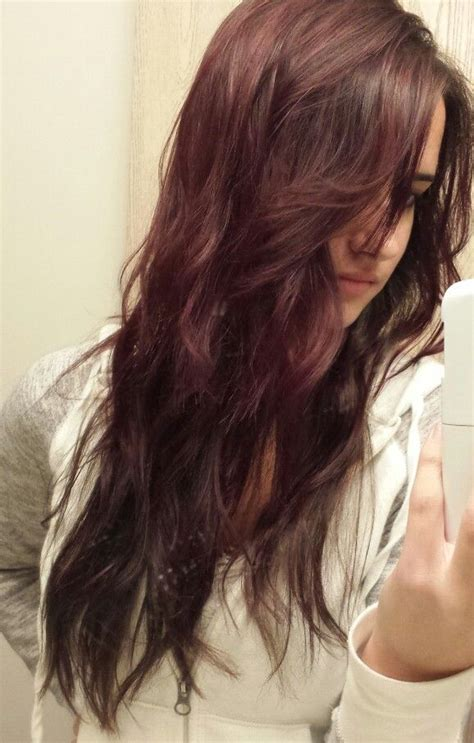 highlighted hair with brown underneath layered pictures purple burgundy with dark brown underneath long layered