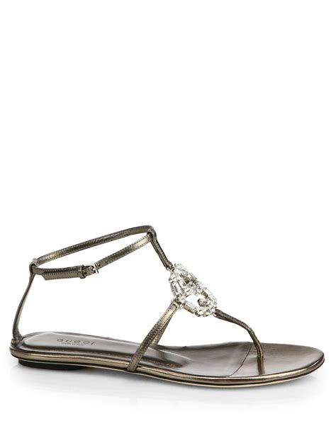 gucci sandals lyst gucci gg leather sandals in metallic