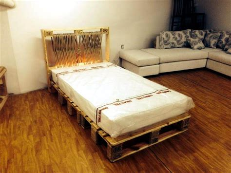 bed on pallets diy pallet bed with lights