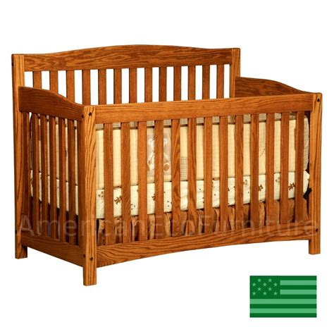 Wood Convertible Cribs Amish Monterey 4 In 1 Convertible Baby Crib Solid Wood Made In Usa American Eco Furniture