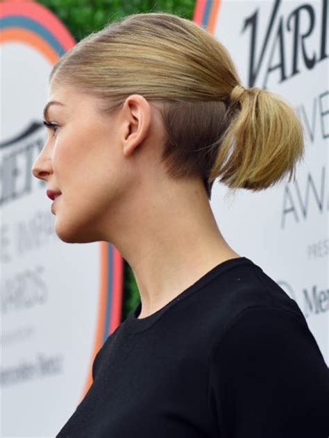 lady neck hair lady nape rosamund pike shaved nape undercut hairstyle