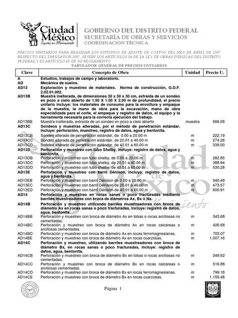 tabulador de precios 2016 tabulador de precios unitarios 2016